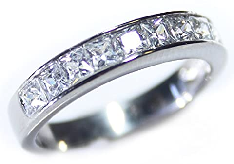 Sparkling AAA Grade Simulated Diamonds Princess Cut Half Eternity Stainless Steel Band Ring. Stamped 316. 4mm Total Width. 2.5gr Total Weight. Outstanding Quality. ( Size R