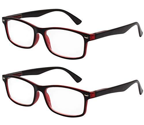 TBOC Gafas de Lectura Presbicia Vista Cansada - (Pack 2 Unidades) Graduadas +1.50 Dioptrías Montura Pasta Bicolor Negra y Roja para Hombre y Mujer Unisex con Lentes de Aumento para Leer y Ver de Cerca