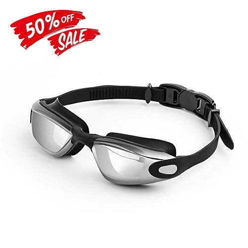 Fmobonus Schwimmbrille Antibeschlag Schwimmen Brillen 100% UV-Schutz Wasserdichter Schutz GRATIS Brillenetui und Ohrstöpsel mit Eintellbare Kopfband, für Männer Frauen Erwachsene Kinder, Schwarz