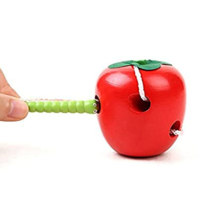 Lumanuby 1 Pcs Insect Eat Fruit Apple Pear Eaten Watermelon Toddler Threading Wooden Toy Newborn Toys Develop Intelligence (Style C) : everything £5 (or less!)