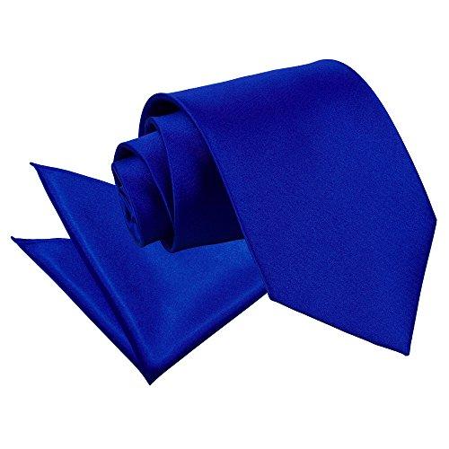 Nouveauté DQT Cravate Unie Homme Haute Qualité Et Mouchoir Assorti Pour Mariage Bleu roi