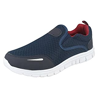 Airtech Mens Slip On Trainers Reno - Navy Textile - UK Size 10 - EU Size 44 - US Size 11