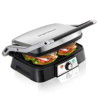 Aigostar Hitte Panini Maker 30KHG - Sandwich Press, Panini Press, Electric Contact Grill, 1500W, Cool Touch, Nonstick Plate, Light Indicator, Silver.