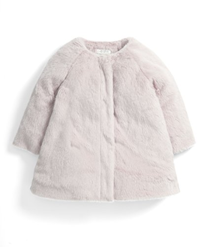 Mamas & Papas Baby-Mädchen Mantel Faux Fur Collar Coat, Pink, 68