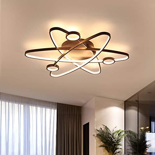 Deckenleuchte Moderne LED Wohnzimmer 3-Ring Kreative Satelliten-Styling Deckenlampe, Braun Aluminium Schlafzimmer Arbeitszimmer Kinder zimmer Deckenbeleuchtung, Dimmbar Mit fernbedienung, Ø60cm 54W
