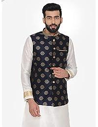 Manyavar Motif design Men's Nehru Jacket in Navy Blue