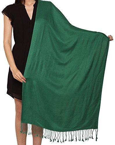 Welt von Schal unisex einfarbig Pashmina Schal Stahl gewickelt Hohe Qualität 100% Viskose Fabrik Räumung saisonbedingte Farben - Smaragd-grün, 72 x 200 Cms