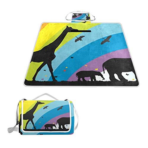 TIZORAX - Manta Impermeable para Picnic, diseño de Jirafa y Elefantes en...
