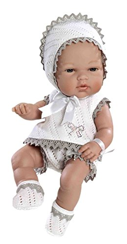 Arias - Muñeca bebé Natal, con elementos swarovski, color gris, 33 cm (90104)