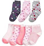 FOOTPRINTS Organic cotton Baby Socks-12-30 Months - Pack of 8 Pairs -P3 Bigdot and P5 Pink