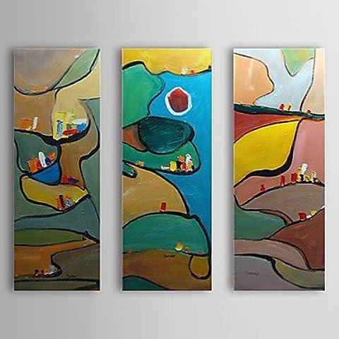 OFLADYH ® pintado a mano de la pintura al óleo del rompecabezas abstracto con marco estirado juego de 3 1310-ab1197