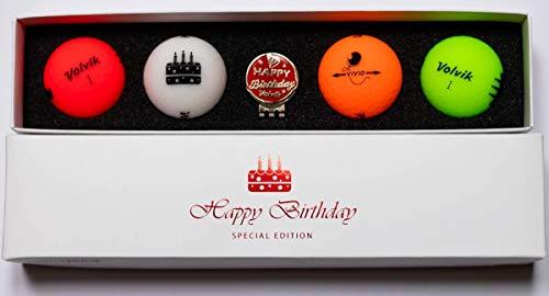Volvik Vif Joyeux Anniversaire Paquet Golf Balles (4 Balls ) & Clip Casquette