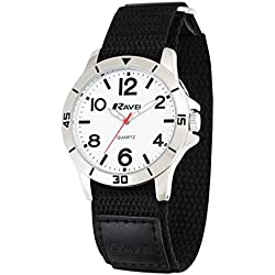 Ravel Work Watch with Fast Fit Action Grip Velcro Strap Men's Quartz Watch with White Dial Analogue Display and Black Nylon Strap R1601.63.11