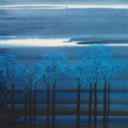 Feelingathome.it-LEINWANDDRUCK-Indigo-Forest-I-cm76x76-poster-bild-auf-leinwand (Impressionistischen Aquarell)