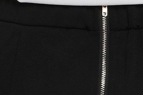 Damen Chiffon zweiteiliger Karriereanzug tiefer V-Ausschnitt Langärmeliger Oberteil und knielanges Kleid mit elastischer Taile Bleistift Design und rückseitigenreißverschluss - 6