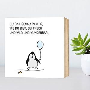 Du-bist-genau-richtig-Pinguin - einzigartiges Holzbild 15x15x2cm zum Hinstellen und Aufhängen, echter Fotodruck...