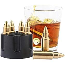 AOLVO Whisky Ice de Acero Inoxidable, Bola de Enfriamiento de Whisky Reutilizable para Hombres de 7PCS y Regalo para El Día del Padre (Oro)