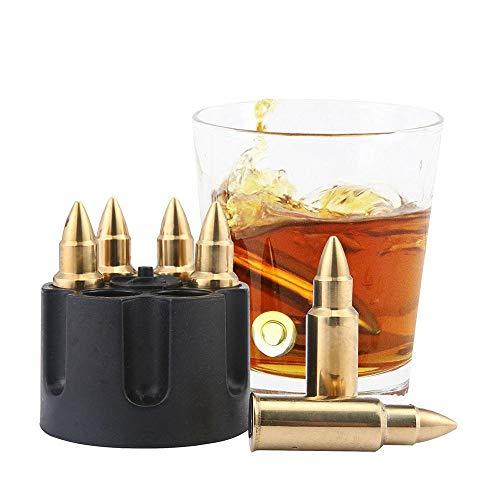 Whiskey Stones Foonee, Bullet Chillers Set von 6 - Chilling Rocks High Cooling wiederverwendbarer Eiskühler, Bourbon, Whiskey Liebhaber, Vatertag Geschenke (Gold)