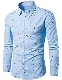 Btruely Herren_camisetas básica Hombres Camisa Superior de Moda botón de impresión Floral de Manga Larga Blusa