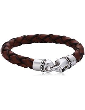 [Gesponsert]Baldessarini Herren-Armband Lederband braun 925 Sterlingsilber vintage-oxidized Onyx schwarz