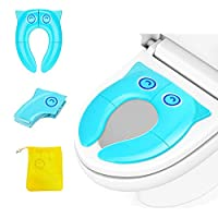 Toddler Toilet Seat, Kids Toilet Seat- Portable Travel Potty Training Seat for Toddler Baby Toilet Seat Covers Liners with 4 Non-Slip Pads Travel Toilet Seats Prevent Germs Spread