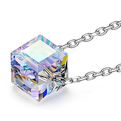 Alex Perry 925 Sterling Silver Golden Shadow/Aurore Boreale Crystals from Swarovski, Women Necklace Pendant, Black Gift Box, Allergen-free, 45+6cm Extender