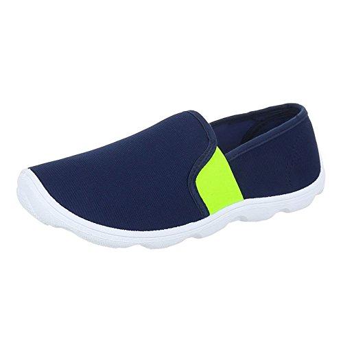 Damen Schuhe, C27-10, HALBSCHUHE, SLIPPER, Textil , Blau, Gr (Mann Kostüm Lollipop)
