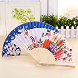SLB Works Brand New Chinese Japanese Bamboo Silk Folding Hand Fan Flower Prom Party Wedding Dance