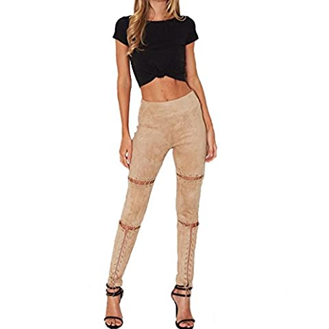 Jamicy Sexy Women Suede Bandage Skinny High Waist Hollow Out Piece PantsTrousers (S, Khaki)