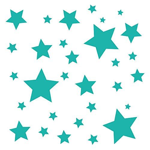 30 Stück türkise Sterne Aufkleber, Fensterdekoration zu Weihnachten Fensterbild/Fensteraufkleber, Wandtattoo