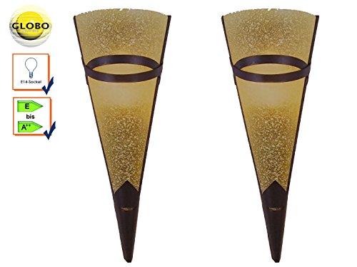 2er Set antik designte Wandleuchten / Wandfackeln RUSTICA, Metall rostfarben, E14 Fassung, Globo Lighting 4413-1