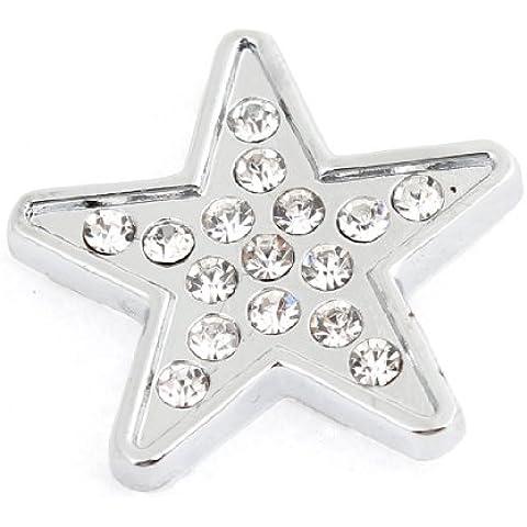 Color Plateado Estrella de cinco puntas Forma De Estrella Diseño 3D Emblema Adhesivo De Coche