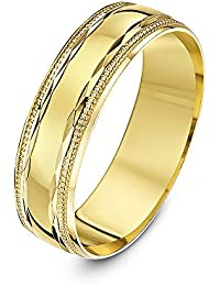 Theia 9 ct Yellow, White or Rose Gold, Diamond Shaped Design with Millgrain/Beaded Edges, Polished, 5-7 mm Wedding Ring