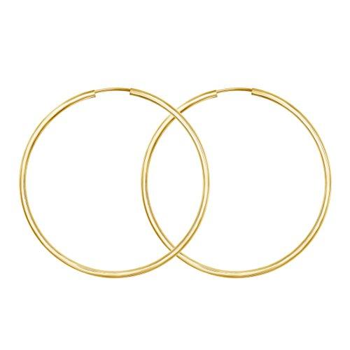 Große 50mm Damen Creolen aus 333 Gold paar Ohrringe in 8 Karat Gelbgold, 2 mm schmal, Made in Germany, Echtgold mit Stempel