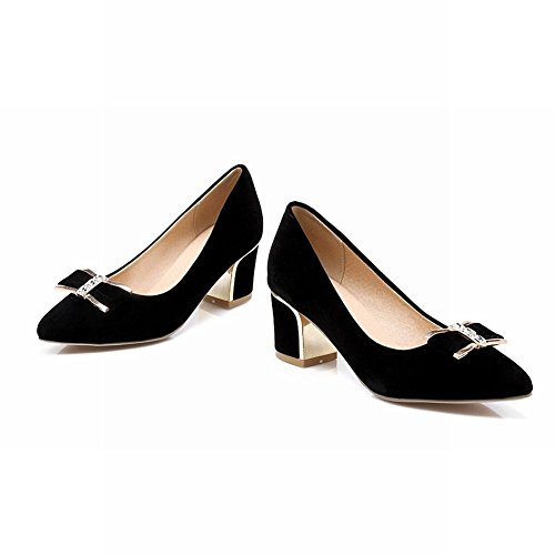 Mee Shoes Damen modern elegant bequem spitz Geschlossen Nubukleder mit Schleife dicker Absatz Pumps Schwarz