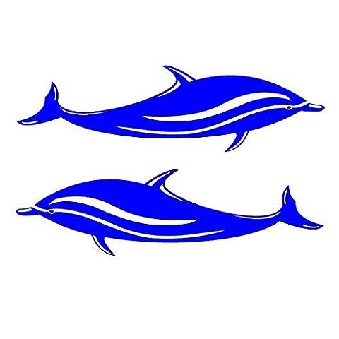 MagiDeal 2 Pièces Dolphins Autocollants Stickers en Vinyle Pour Kayak Canoë Bateau Voiture Planche de Surf