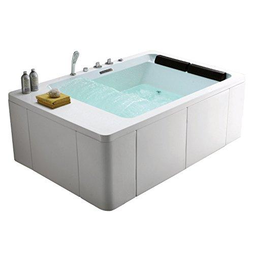 Whirlpool Badewanne Rechteck - ANAQ M-1306 Premium 180x120 cm 2 Personen Whirlwanne Indoor NEU (mit Schürze)
