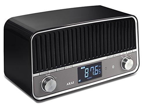 Akai APR500BK - Radio con Bluetooth, diseño vintage, color negro