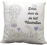 Personalisiertes Namenskissen Kissen zur Geburt oder Taufe Junge Kuschelkissen Babykissen Hasenkissen Farbe blau/grau