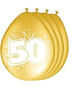 Folat 08255 - Globos de 50 cumpleaños (8 Unidades), Color Dorado