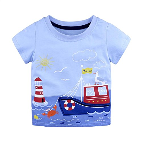 Webla Baby Boys Girls Kids Cartoon Print Summer Tops T Shirts For 1-6 Years Old (12-18 Month, Light Blue)