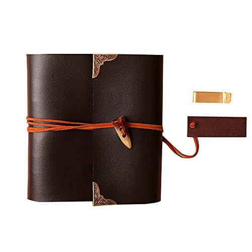 Álbum de fotos Cuadrados de cuero hechos a mano Diy álbum de fotos Notebook Lover niños Gift20.6X27.2cm Brown 1PCS