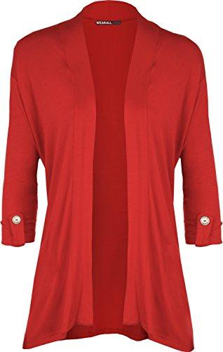 WearAll - Damen Übergröße kurzarm knopf offen Cardigan Top - Rot - 50-52