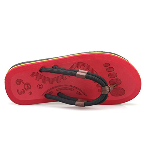 CHENGYANG Hommes D'été Chaussure Mode Flip-Flops Sandale de Bain de Plage Chaussons Rouge#2