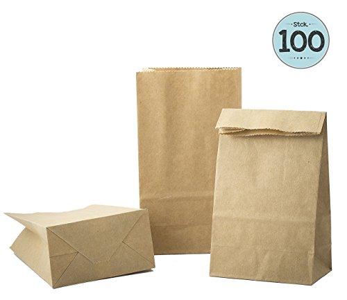 100 Kraft marrón bolsas de papel con base 9 x 16 x 5 cm, 70 gr./m2. papel para envolver pan galletas y dulces de panadería. Ideal para bolsas de regalo, bolsas de fiesta, calendario de adviento.