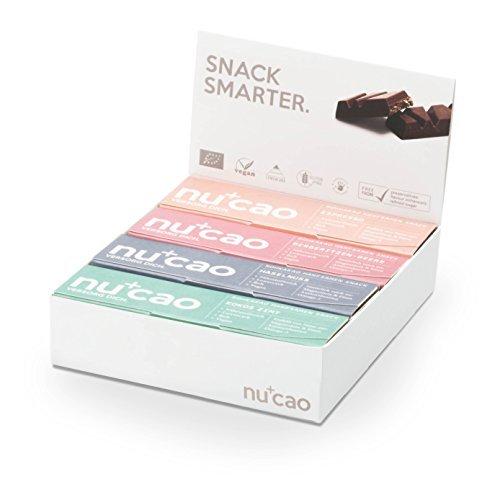 nucao – Mixed Box – Innovativer Superfood-Riegel mit Hanfsamen & Roh-Kakao – Low Carb – Vegan – Bio – Clean Eating – Paleo – 8er Box – Hergestellt in deutscher Rohkostqualität (Roh-zucker)