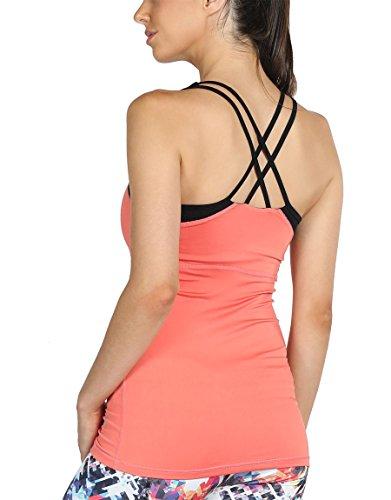 icyzone Damen Fitness Trainings Shirt mit BH - X Rücken Sport Gym Top Oberteile (L, Fusion Coral)