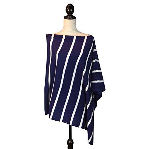 Cashmere Poncho Scialle Cardigan con Bottoni, in confezione regalo Navy Stripe