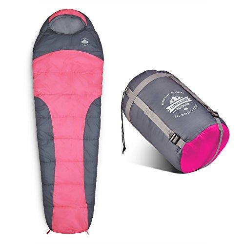 Lumaland Outdoor Schlafsack Mumienschlafsack, 230 x 80 cm, inklusive Packsack, 50 x 25 cm gepackt pink