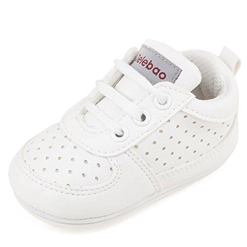 DELEBAO Babyschuhe Krabbelschuhe Turnschuhe Lauflernschuhe Weiche Sohle Baby Schuhe Lederschuhe Erste Kinderschuhe Kleinkind für Mädchen Jungen (Weiß,12-18 Monate) -